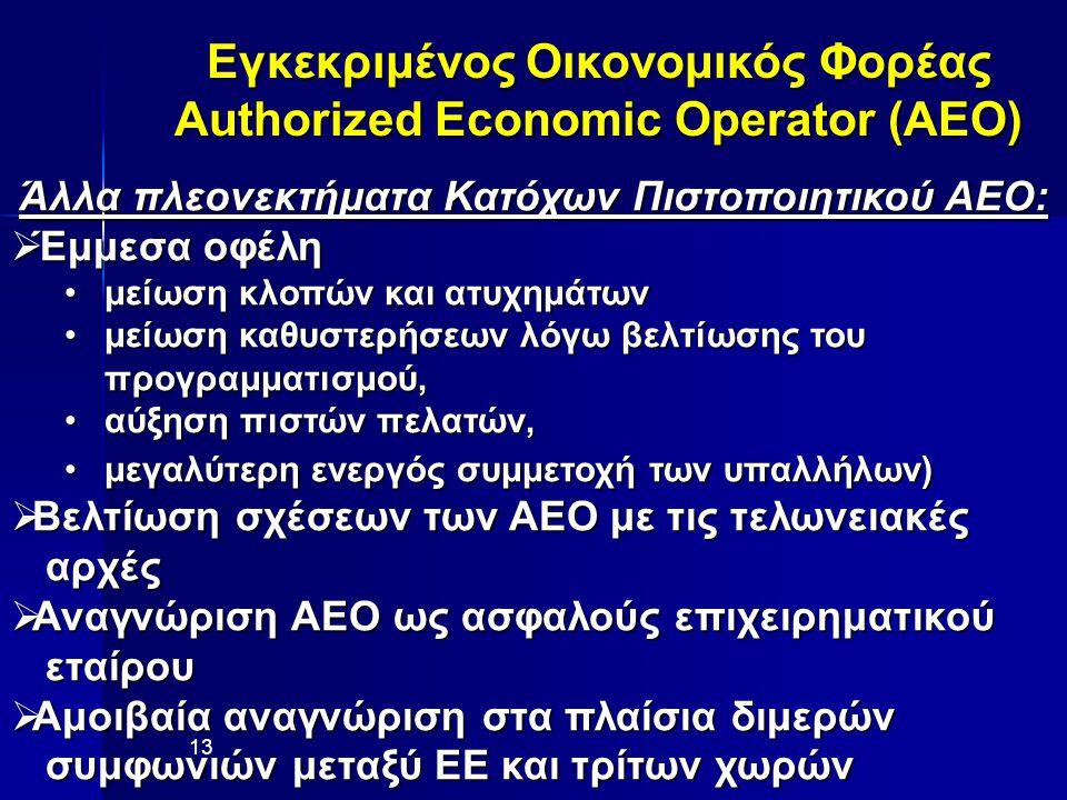 Εγκεκριμένος Οικονομικός Φορέας Authorized Economic Operator (AEO) 13 Άλλα πλεονεκτήματα Κατόχων Πιστοποιητικού ΑΕΟ:  Έμμεσα οφέλη μείωση κλοπών και ατυχημάτωνμείωση κλοπών και ατυχημάτων μείωση καθυστερήσεων λόγω βελτίωσης του προγραμματισμού,μείωση καθυστερήσεων λόγω βελτίωσης του προγραμματισμού, αύξηση πιστών πελατών,αύξηση πιστών πελατών, μεγαλύτερη ενεργός συμμετοχή των υπαλλήλων)μεγαλύτερη ενεργός συμμετοχή των υπαλλήλων)  Βελτίωση σχέσεων των ΑΕΟ με τις τελωνειακές αρχές αρχές  Αναγνώριση ΑΕΟ ως ασφαλούς επιχειρηματικού εταίρου εταίρου  Αμοιβαία αναγνώριση στα πλαίσια διμερών συμφωνιών μεταξύ ΕΕ και τρίτων χωρών συμφωνιών μεταξύ ΕΕ και τρίτων χωρών