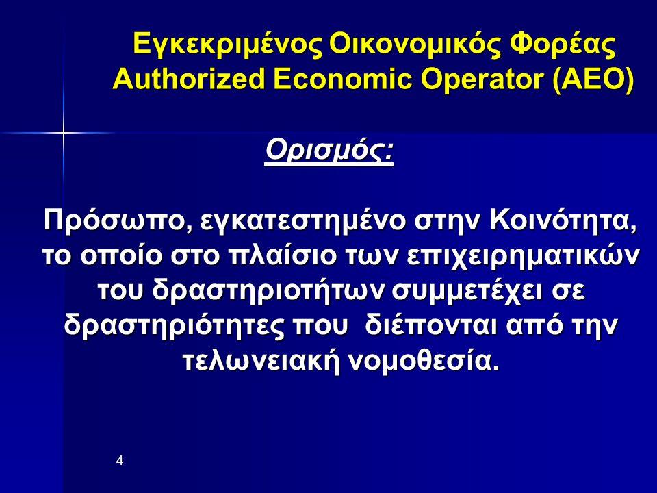 Εγκεκριμένος Οικονομικός Φορέας Authorized Economic Operator (AEO) Ορισμός: Πρόσωπο, εγκατεστημένο στην Κοινότητα, το οποίο στο πλαίσιο των επιχειρηματικών του δραστηριοτήτων συμμετέχει σε δραστηριότητες που διέπονται από την τελωνειακή νομοθεσία.
