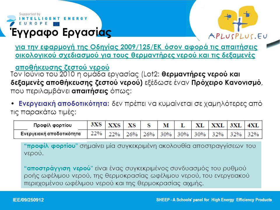 IEE/09/250912 SHEEP - A Schools panel for High Energy Efficiency Products Τον Ιούνιο του 2010 η ομάδα εργασίας (Lot2: θερμαντήρες νερού και δεξαμενές αποθήκευσης ζεστού νερού) εξέδωσε έναν Πρόχειρο Κανονισμό, που περιλαμβάνει απαιτήσεις όπως: Ενεργειακή αποδοτικότητα: δεν πρέπει να κυμαίνεται σε χαμηλότερες από τις παρακάτω τιμές: προφίλ φορτίου σημαίνει μία συγκεκριμένη ακολουθία αποστραγγίσεων του νερού.