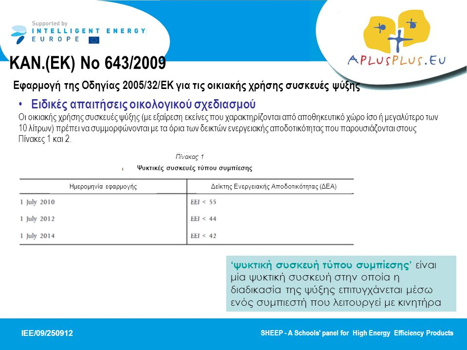 IEE/09/250912 SHEEP - A Schools panel for High Energy Efficiency Products Ειδικές απαιτήσεις οικολογικού σχεδιασμού Οι οικιακής χρήσης συσκευές ψύξης (με εξαίρεση εκείνες που χαρακτηρίζονται από αποθηκευτικό χώρο ίσο ή μεγαλύτερο των 10 λίτρων) πρέπει να συμμορφώνονται με τα όρια των δεικτών ενεργειακής αποδοτικότητας που παρουσιάζονται στους Πίνακες 1 και 2.