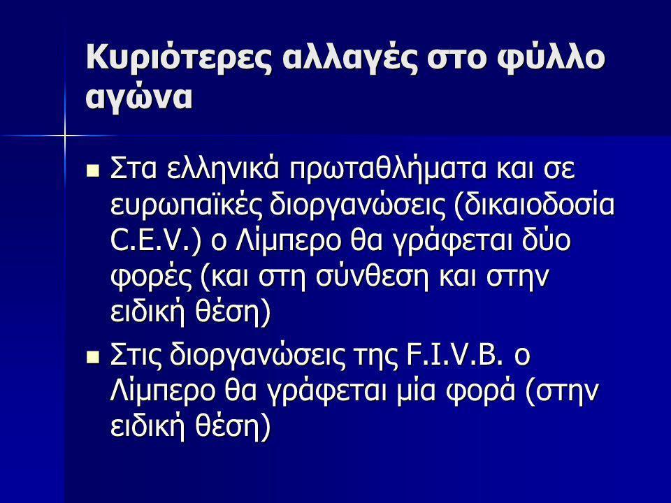 Κυριότερες αλλαγές στο φύλλο αγώνα Στα ελληνικά πρωταθλήματα και σε ευρωπαϊκές διοργανώσεις (δικαιοδοσία C.E.V.) ο Λίμπερο θα γράφεται δύο φορές (και