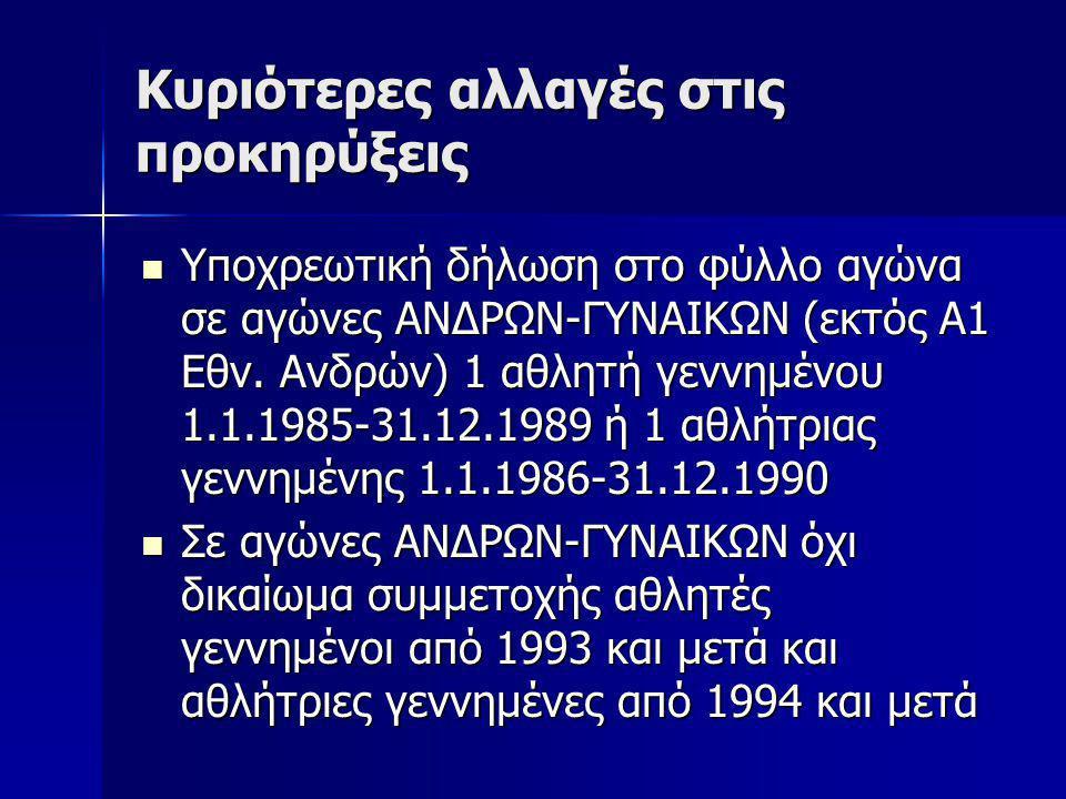 Κυριότερες αλλαγές στις προκηρύξεις Υποχρεωτική δήλωση στο φύλλο αγώνα σε αγώνες ΑΝΔΡΩΝ-ΓΥΝΑΙΚΩΝ (εκτός Α1 Εθν. Ανδρών) 1 αθλητή γεννημένου 1.1.1985-3