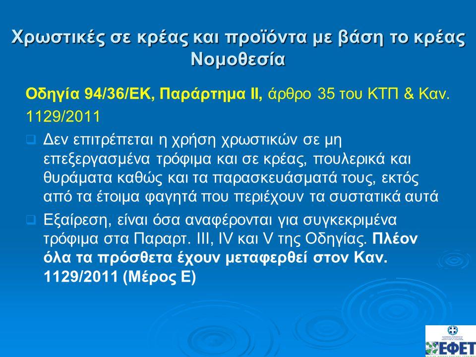 Οδηγία 94/36/ΕΚ, Παράρτημα ΙΙ, άρθρο 35 του ΚΤΠ & Καν. 1129/2011   Δεν επιτρέπεται η χρήση χρωστικών σε μη επεξεργασμένα τρόφιμα και σε κρέας, πουλε