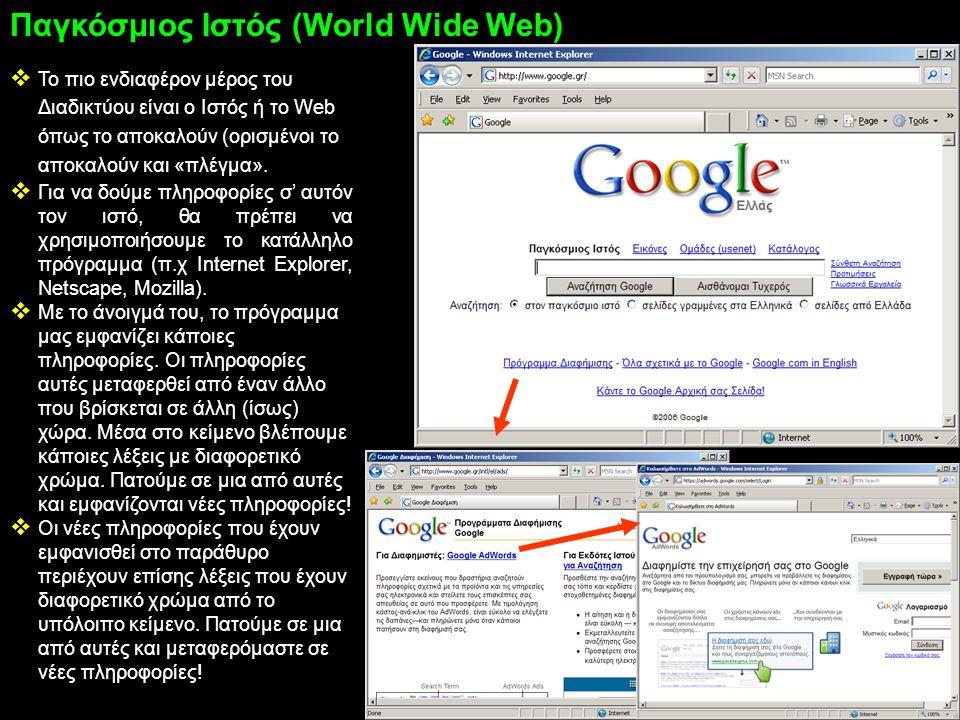 Το πιο ενδιαφέρον μέρος του Διαδικτύου είναι ο Ιστός ή το Web όπως το αποκαλούν (ορισμένοι το αποκαλούν και «πλέγμα».  Για να δούμε πληροφορίες σ'
