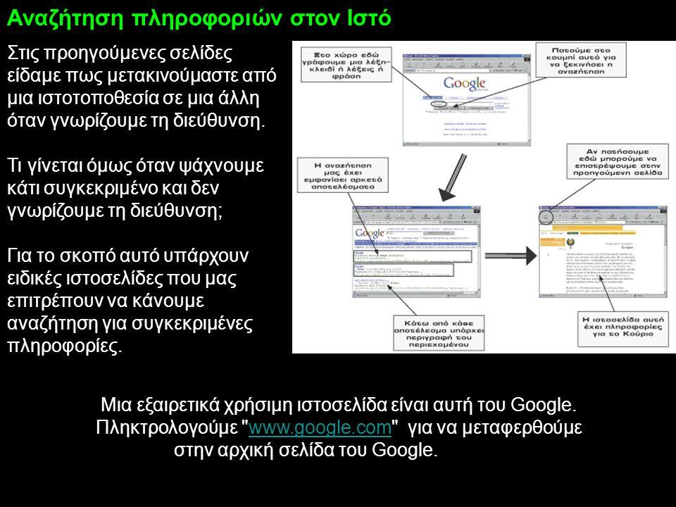 Μια εξαιρετικά χρήσιμη ιστοσελίδα είναι αυτή του Google. Πληκτρολογούμε
