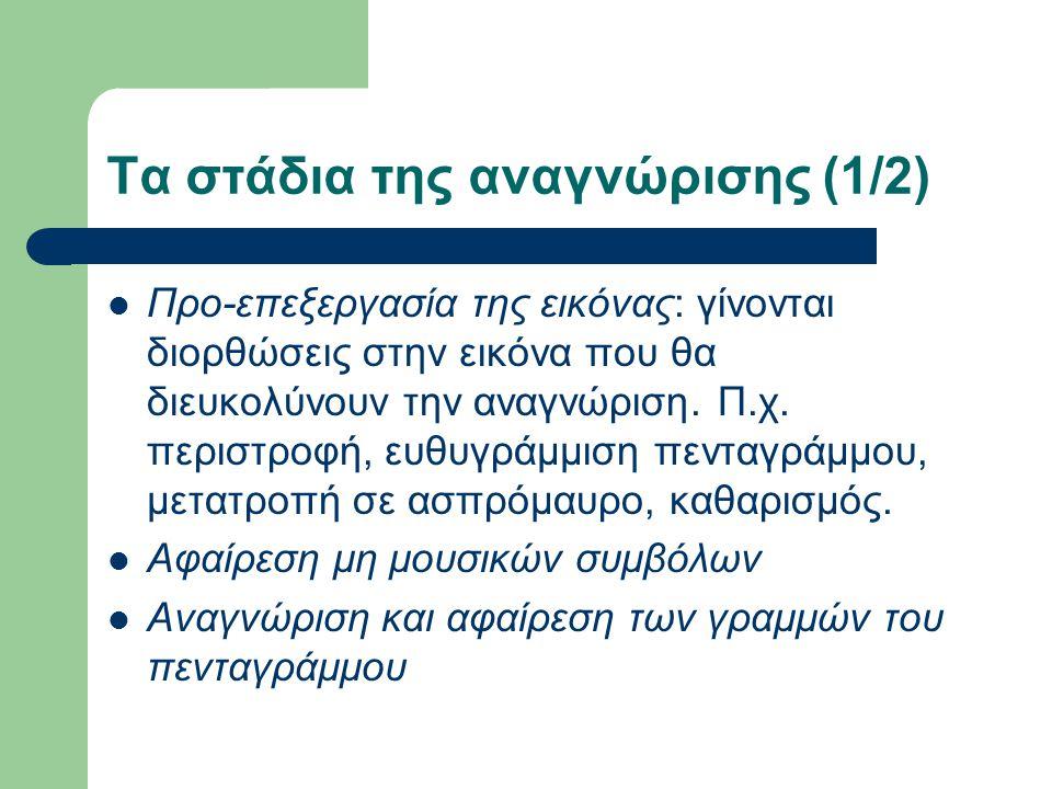 Τα στάδια της αναγνώρισης (1/2) Προ-επεξεργασία της εικόνας: γίνονται διορθώσεις στην εικόνα που θα διευκολύνουν την αναγνώριση.