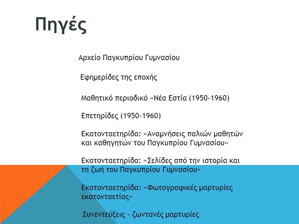 Αρχείο Παγκυπρίου Γυμνασίου Εφημερίδες της εποχής Μαθητικό περιοδικό «Νέα Εστία (1950-1960) Επετηρίδες (1950-1960) Εκατονταετηρίδα: «Αναμνήσεις παλιών
