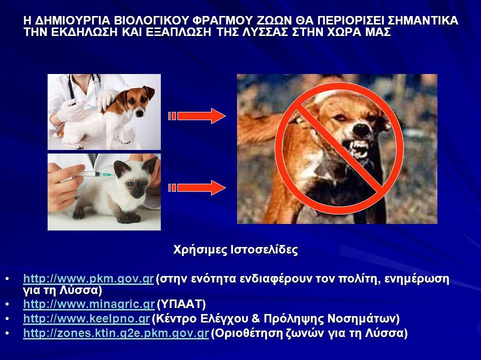 Η ΔΗΜΙΟΥΡΓΙΑ ΒΙΟΛΟΓΙΚΟΥ ΦΡΑΓΜΟΥ ΖΩΩΝ ΘΑ ΠΕΡΙΟΡΙΣΕΙ ΣΗΜΑΝΤΙΚΑ ΤΗΝ ΕΚΔΗΛΩΣΗ ΚΑΙ ΕΞΑΠΛΩΣΗ ΤΗΣ ΛΥΣΣΑΣ ΣΤΗΝ ΧΩΡΑ ΜΑΣ Χρήσιμες Ιστοσελίδες http://www.pkm.gov.gr (στην ενότητα ενδιαφέρουν τον πολίτη, ενημέρωση για τη Λύσσα)http://www.pkm.gov.gr (στην ενότητα ενδιαφέρουν τον πολίτη, ενημέρωση για τη Λύσσα)http://www.pkm.gov.gr http://www.minagric.gr (ΥΠΑΑΤ)http://www.minagric.gr (ΥΠΑΑΤ)http://www.minagric.gr http://www.keelpno.gr (Κέντρο Ελέγχου & Πρόληψης Νοσημάτων)http://www.keelpno.gr (Κέντρο Ελέγχου & Πρόληψης Νοσημάτων)http://www.keelpno.gr http://zones.ktin.g2e.pkm.gov.gr (Οριοθέτηση ζωνών για τη Λύσσα)http://zones.ktin.g2e.pkm.gov.gr (Οριοθέτηση ζωνών για τη Λύσσα)http://zones.ktin.g2e.pkm.gov.gr