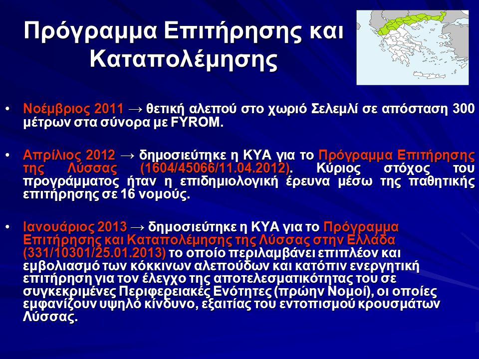 Πρόγραμμα Επιτήρησης και Καταπολέμησης Νοέμβριος 2011 → θετική αλεπού στο χωριό Σελεμλί σε απόσταση 300 μέτρων στα σύνορα με FYROM.Νοέμβριος 2011 → θε