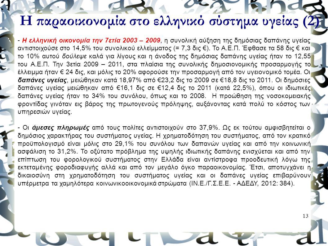 13 Η παραοικονομία στο ελληνικό σύστημα υγείας (2) - Η ελληνική οικονομία την 7ετία 2003 – 2009, η συνολική αύξηση της δημόσιας δαπάνης υγείας αντιστο