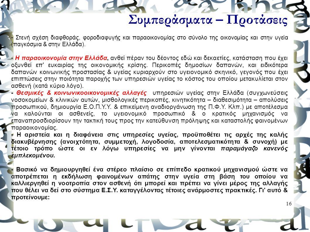 16 Συμπεράσματα – Προτάσεις - Στενή σχέση διαφθοράς, φοροδιαφυγής και παραοικονομίας στο σύνολο της οικονομίας και στην υγεία (παγκόσμια & στην Ελλάδα