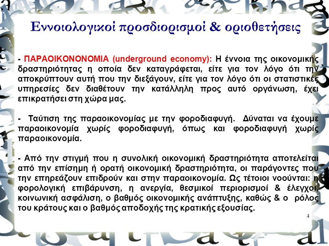 4 Εννοιολογικοί προσδιορισμοί & οριοθετήσεις - ΠΑΡΑΟΙΚΟΝΟΝΟΜΙΑ (underground economy): Η έννοια της οικονομικής δραστηριότητας η οποία δεν καταγράφεται