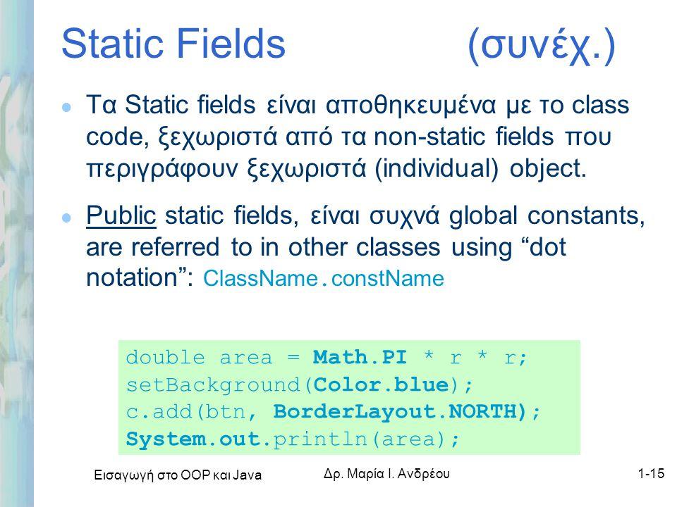 Εισαγωγή στο ΟΟΡ και Java Δρ. Μαρία Ι. Ανδρέου1-15 Static Fields (συνέχ.) l Τα Static fields είναι αποθηκευμένα με το class code, ξεχωριστά από τα non