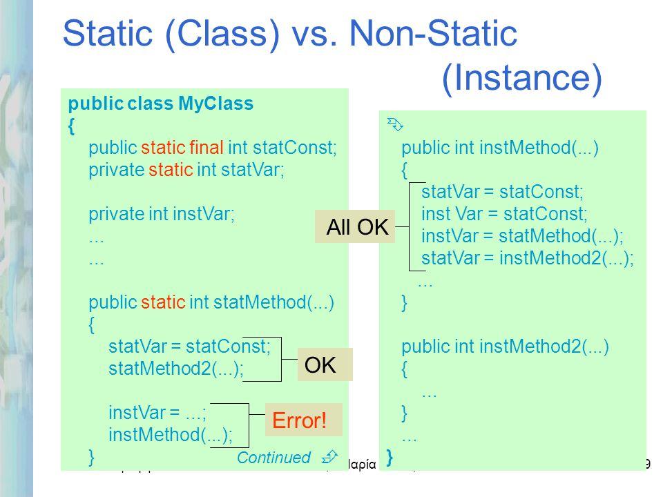 Εισαγωγή στο ΟΟΡ και Java Δρ. Μαρία Ι. Ανδρέου1-19 Static (Class) vs. Non-Static (Instance) public class MyClass { public static final int statConst;