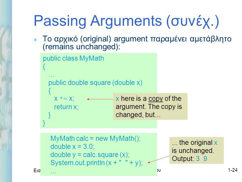 Εισαγωγή στο ΟΟΡ και Java Δρ. Μαρία Ι. Ανδρέου1-24 Passing Arguments (συνέχ.) l Το αρχικό (original) argument παραμένει αμετάβλητο (remains unchanged)