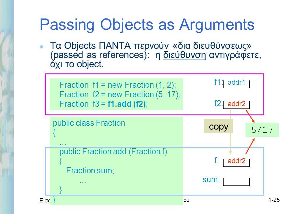 Εισαγωγή στο ΟΟΡ και Java Δρ. Μαρία Ι. Ανδρέου1-25 Passing Objects as Arguments l Τα Objects ΠΑΝΤΑ περνούν «δια διευθύνσεως» (passed as references): η