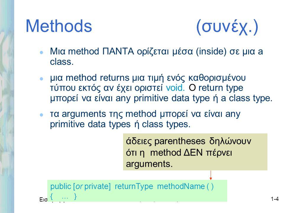 Εισαγωγή στο ΟΟΡ και Java Δρ. Μαρία Ι. Ανδρέου1-4 Methods (συνέχ.) l Μια method ΠΑΝΤΑ ορίζεται μέσα (inside) σε μια a class. l μια method returns μια
