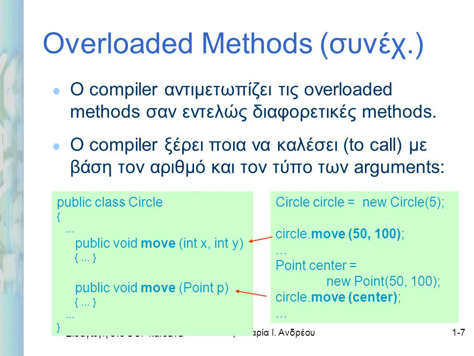 Εισαγωγή στο ΟΟΡ και Java Δρ. Μαρία Ι. Ανδρέου1-7 Overloaded Methods (συνέχ.) l Ο compiler αντιμετωπίζει τις overloaded methods σαν εντελώς διαφορετικ