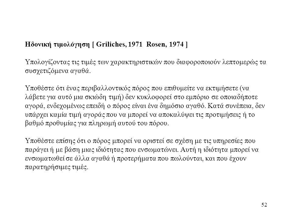 52 Ηδονική τιμολόγηση [ Griliches, 1971 Rosen, 1974 ] Υπολογίζοντας τις τιμές των χαρακτηριστικών που διαφοροποιούν λεπτομερώς τα συσχετιζόμενα αγαθά.
