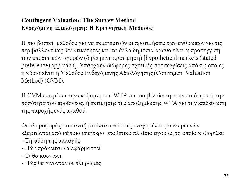 55 Contingent Valuation: The Survey Method Ενδεχόμενη αξιολόγηση: Η Ερευνητική Μέθοδος Η πιο βασική μέθοδος για να εκμαιευτούν οι προτιμήσεις των ανθρ