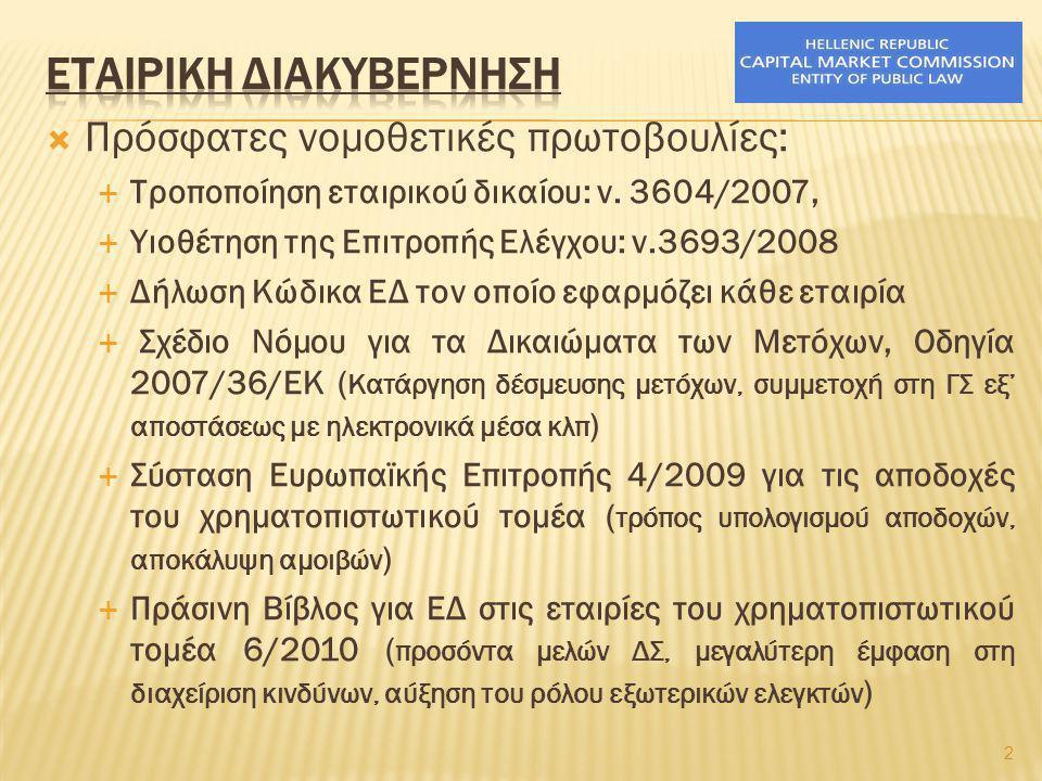  Πρόσφατες νομοθετικές πρωτοβουλίες:  Τροποποίηση εταιρικού δικαίου: ν. 3604/2007,  Υιοθέτηση της Επιτροπής Ελέγχου: ν.3693/2008  Δήλωση Κώδικα ΕΔ