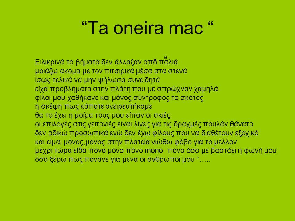 """Ta oneira mac "" "" Ειλικρινά τα βήματα δεν άλλαξαν από παλιά μοιάζω ακόμα με τον πιτσιρικά μέσα στα στενά ίσως τελικά να μην ψήλωσα συνειδητά είχα προ"