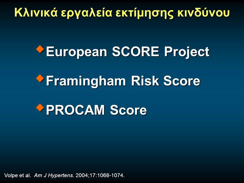 Κλινικά εργαλεία εκτίμησης κινδύνου  European SCORE Project  Framingham Risk Score  PROCAM Score Volpe et al.