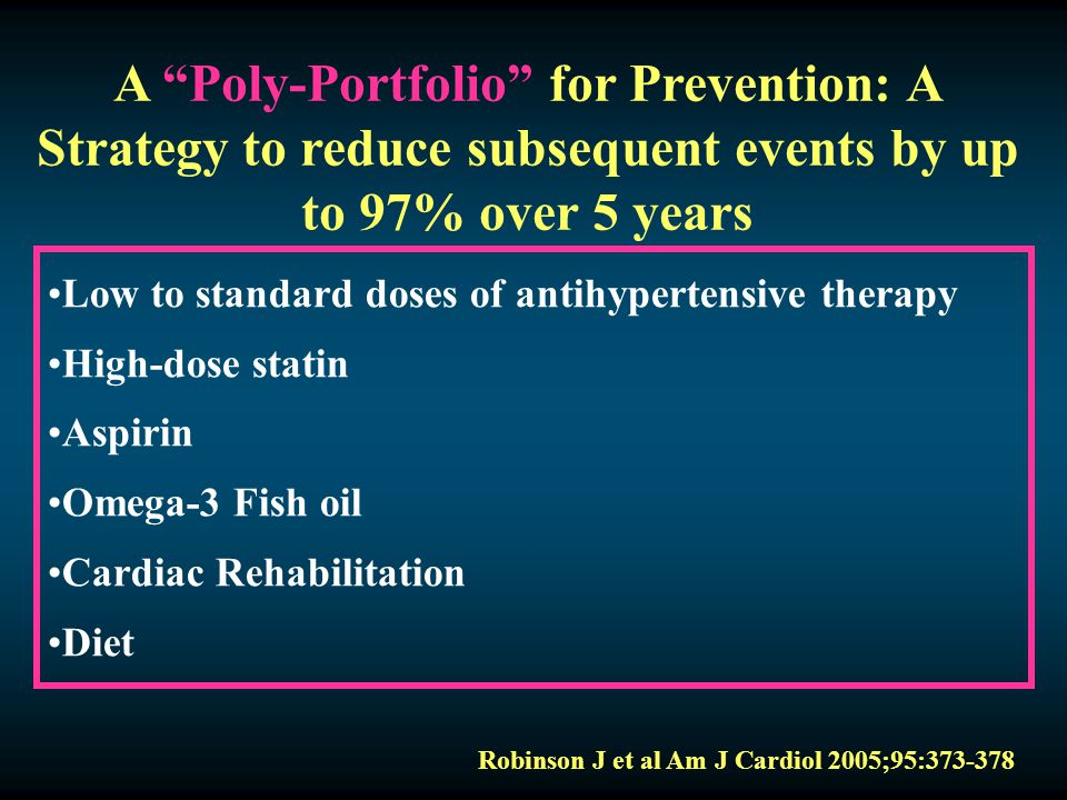 "A ""Poly-Portfolio"" for Prevention: A Strategy to reduce subsequent events by up to 97% over 5 years Low to standard doses of antihypertensive therapy"