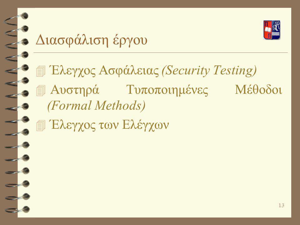 13 Διασφάλιση έργου 4 Έλεγχος Ασφάλειας (Security Testing) 4 Αυστηρά Τυποποιημένες Μέθοδοι (Formal Methods) 4 Έλεγχος των Ελέγχων