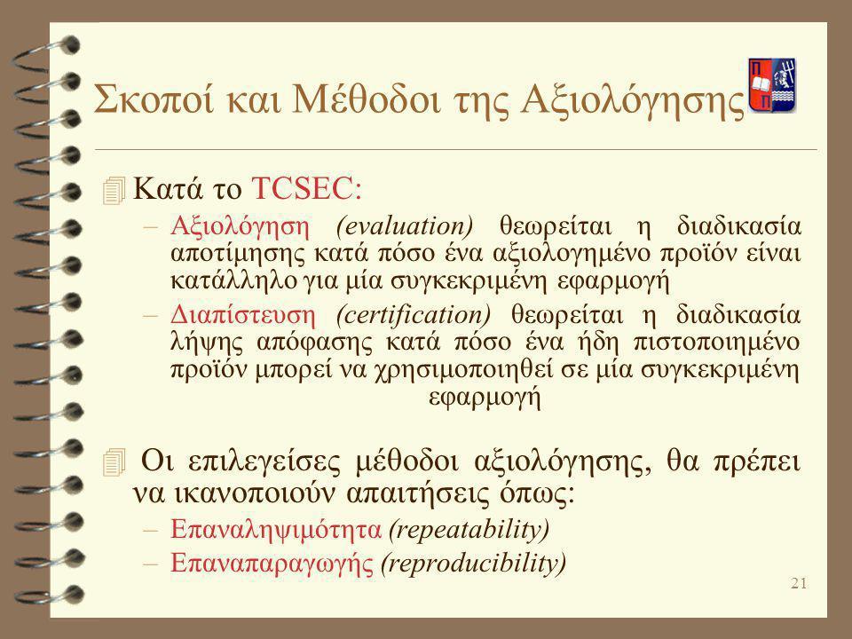 21 Σκοποί και Μέθοδοι της Αξιολόγησης 4 Κατά το TCSEC: –Αξιολόγηση (evaluation) θεωρείται η διαδικασία αποτίμησης κατά πόσο ένα αξιολογημένο προϊόν εί