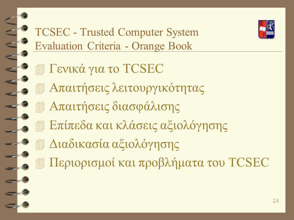 24 TCSEC - Τrusted Computer System Evaluation Criteria - Orange Book 4 Γενικά για το TCSEC 4 Απαιτήσεις λειτουργικότητας 4 Απαιτήσεις διασφάλισης 4 Επ