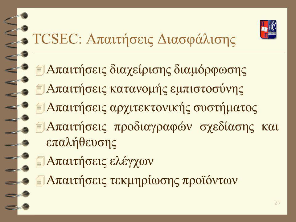 27 TCSEC: Απαιτήσεις Διασφάλισης 4 Απαιτήσεις διαχείρισης διαμόρφωσης 4 Απαιτήσεις κατανομής εμπιστοσύνης 4 Απαιτήσεις αρχιτεκτονικής συστήματος 4 Απα