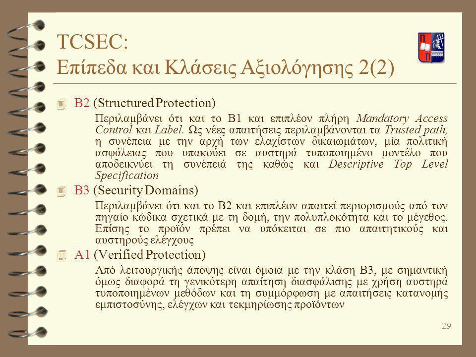 29 4 B2 (Structured Protection) Περιλαμβάνει ότι και το Β1 και επιπλέον πλήρη Mandatory Access Control και Label. Ως νέες απαιτήσεις περιλαμβάνονται τ