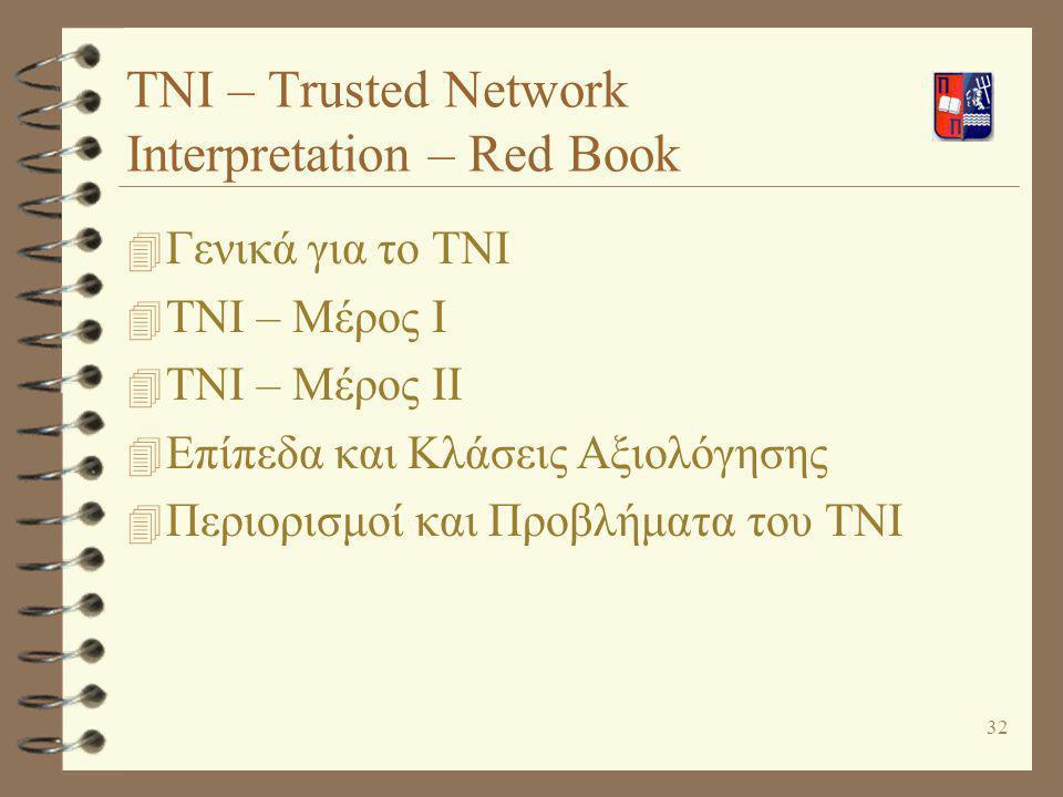 32 TNI – Trusted Network Interpretation – Red Book 4 Γενικά για το TNI 4 TNI – Μέρος Ι 4 TNI – Μέρος ΙΙ 4 Επίπεδα και Κλάσεις Αξιολόγησης 4 Περιορισμο