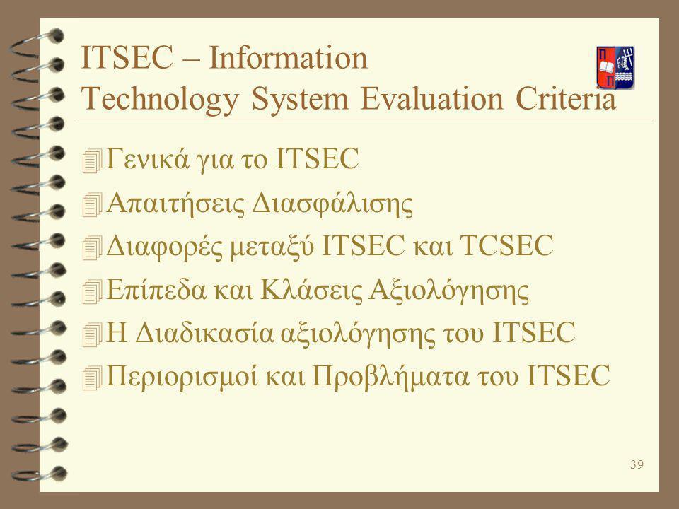 39 ITSEC – Information Technology System Evaluation Criteria 4 Γενικά για το ITSEC 4 Απαιτήσεις Διασφάλισης 4 Διαφορές μεταξύ ITSEC και TCSEC 4 Επίπεδ