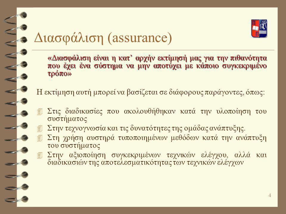 4 Διασφάλιση (assurance) «Διασφάλιση είναι η κατ' αρχήν εκτίμησή μας για την πιθανότητα που έχει ένα σύστημα να μην αποτύχει με κάποιο συγκεκριμένο τρ