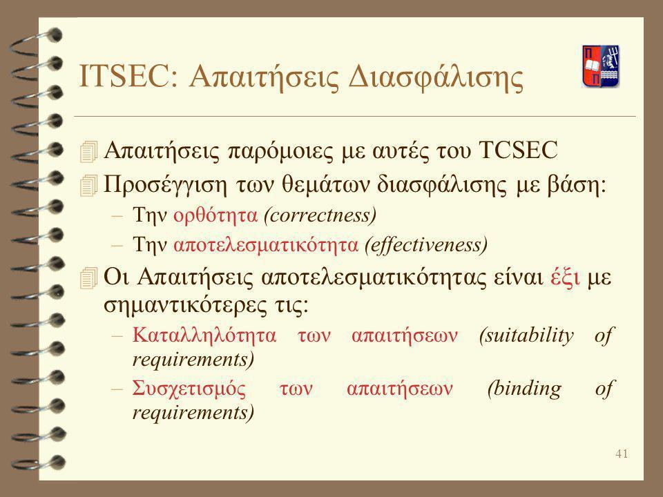 41 ITSEC: Απαιτήσεις Διασφάλισης 4 Απαιτήσεις παρόμοιες με αυτές του TCSEC 4 Προσέγγιση των θεμάτων διασφάλισης με βάση: –Την ορθότητα (correctness) –
