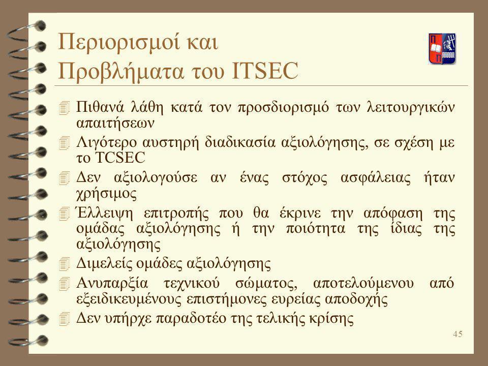 45 Περιορισμοί και Προβλήματα του ITSEC 4 Πιθανά λάθη κατά τον προσδιορισμό των λειτουργικών απαιτήσεων 4 Λιγότερο αυστηρή διαδικασία αξιολόγησης, σε