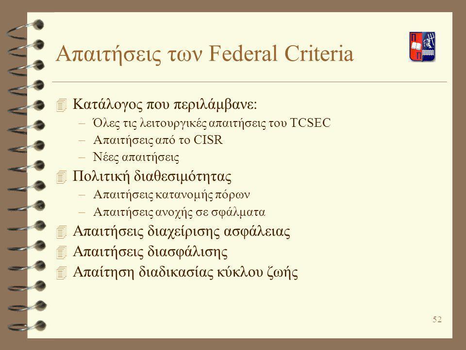 52 Απαιτήσεις των Federal Criteria 4 Κατάλογος που περιλάμβανε: –Όλες τις λειτουργικές απαιτήσεις του TCSEC –Απαιτήσεις από το CISR –Νέες απαιτήσεις 4