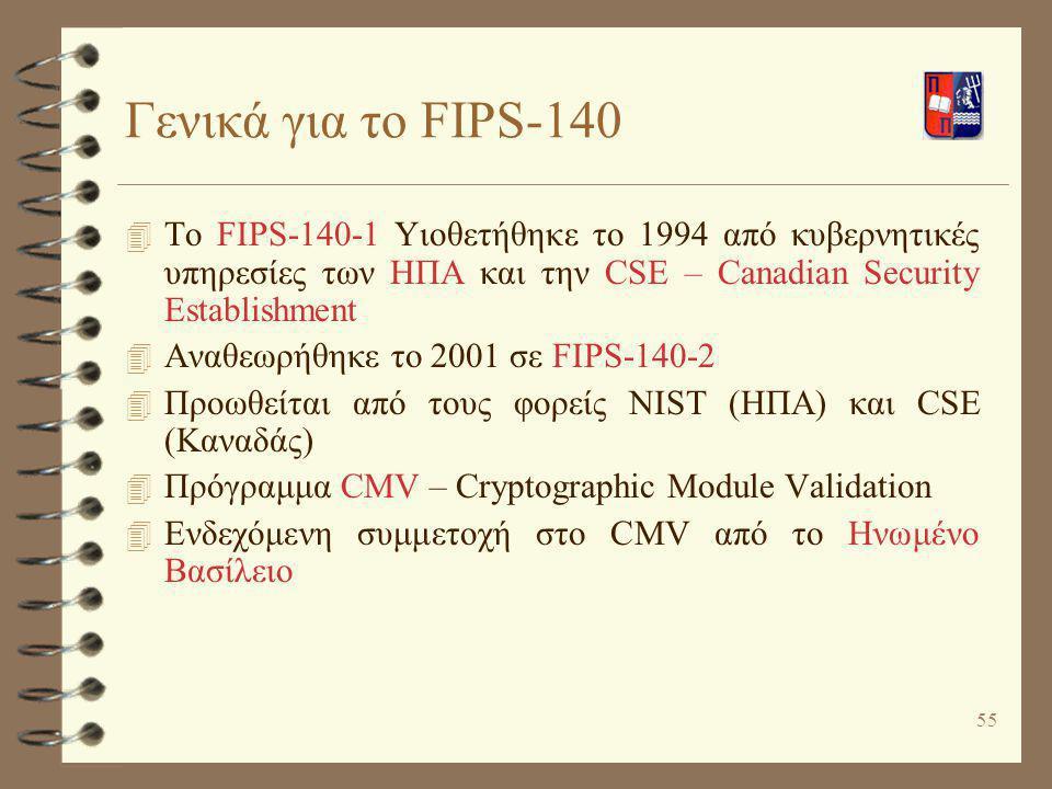 55 Γενικά για το FIPS-140 4 To FIPS-140-1 Υιοθετήθηκε το 1994 από κυβερνητικές υπηρεσίες των ΗΠΑ και την CSE – Canadian Security Establishment 4 Αναθε