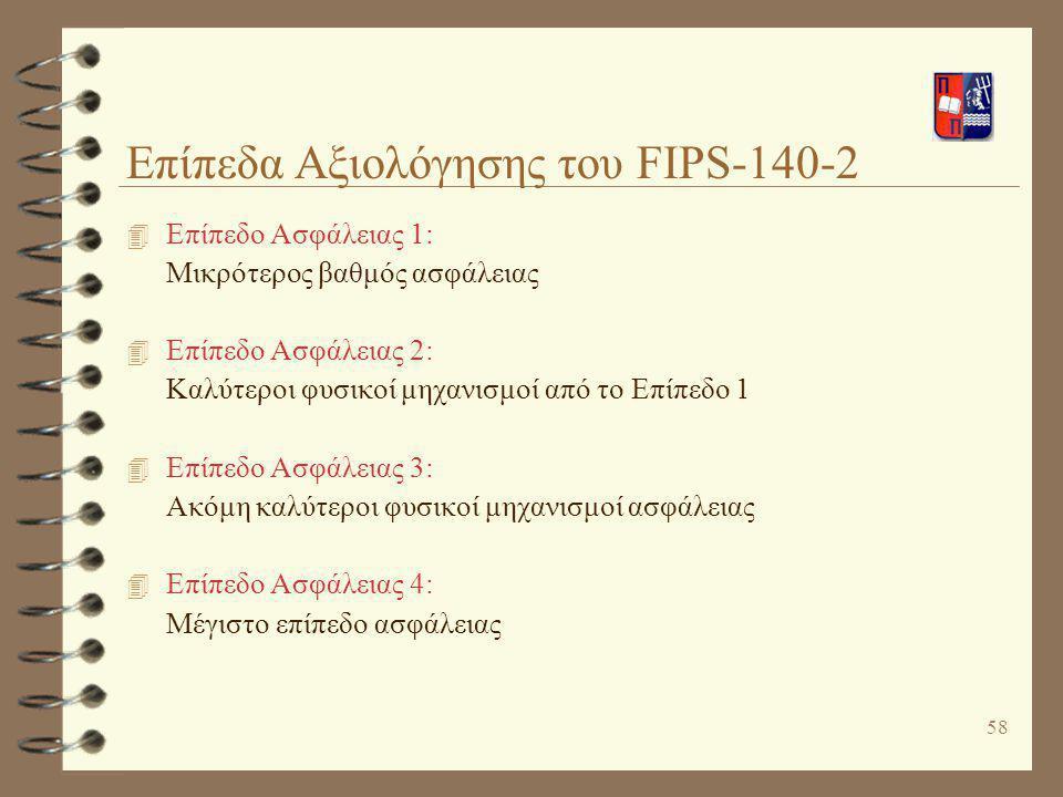 58 Επίπεδα Αξιολόγησης του FIPS-140-2 4 Επίπεδο Ασφάλειας 1: Μικρότερος βαθμός ασφάλειας 4 Επίπεδο Ασφάλειας 2: Καλύτεροι φυσικοί μηχανισμοί από το Επ