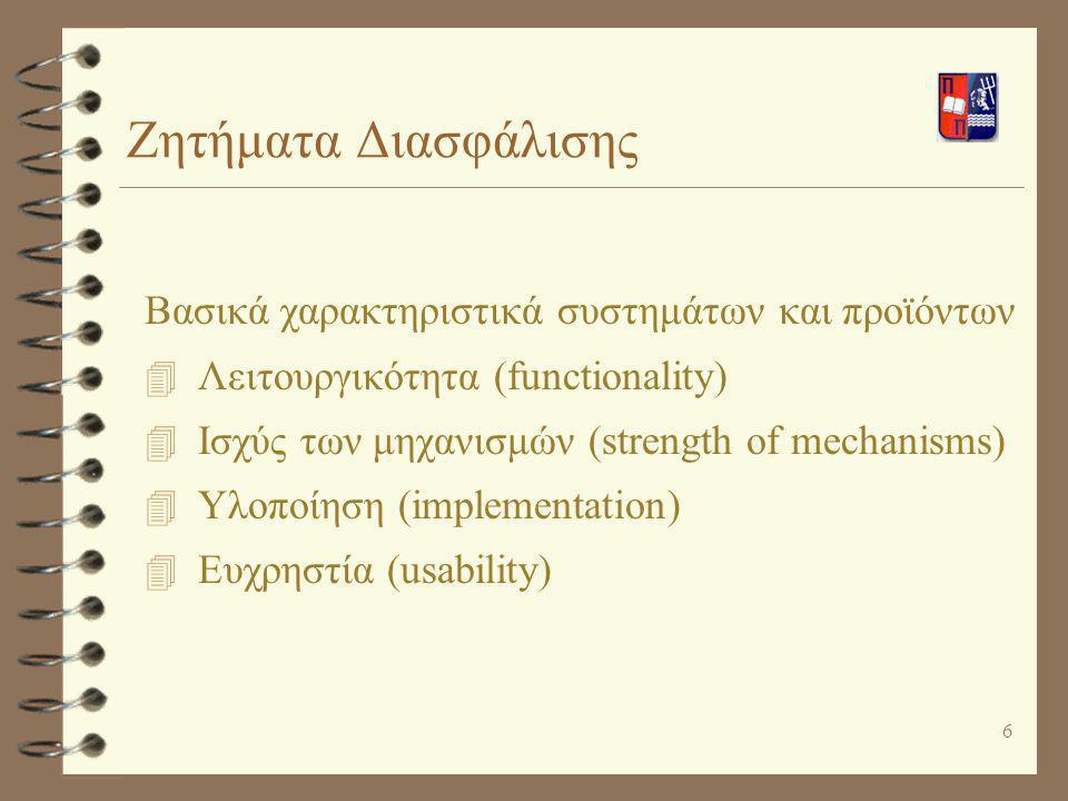 6 Βασικά χαρακτηριστικά συστημάτων και προϊόντων 4 Λειτουργικότητα (functionality) 4 Ισχύς των μηχανισμών (strength of mechanisms) 4 Υλοποίηση (implem