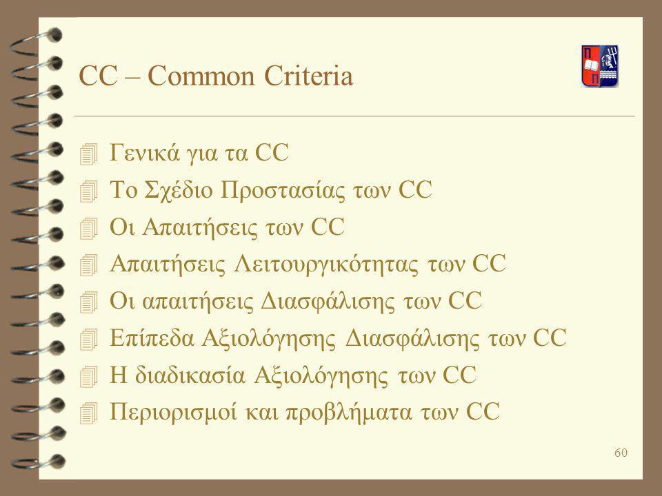 60 CC – Common Criteria 4 Γενικά για τα CC 4 Το Σχέδιο Προστασίας των CC 4 Οι Απαιτήσεις των CC 4 Απαιτήσεις Λειτουργικότητας των CC 4 Οι απαιτήσεις Δ
