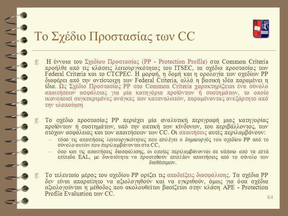 64 Το Σχέδιο Προστασίας των CC 4 Η έννοια του Σχεδίου Προστασίας (PP - Protection Profile) στα Common Criteria προήλθε από τις κλάσεις λειτουργικότητα