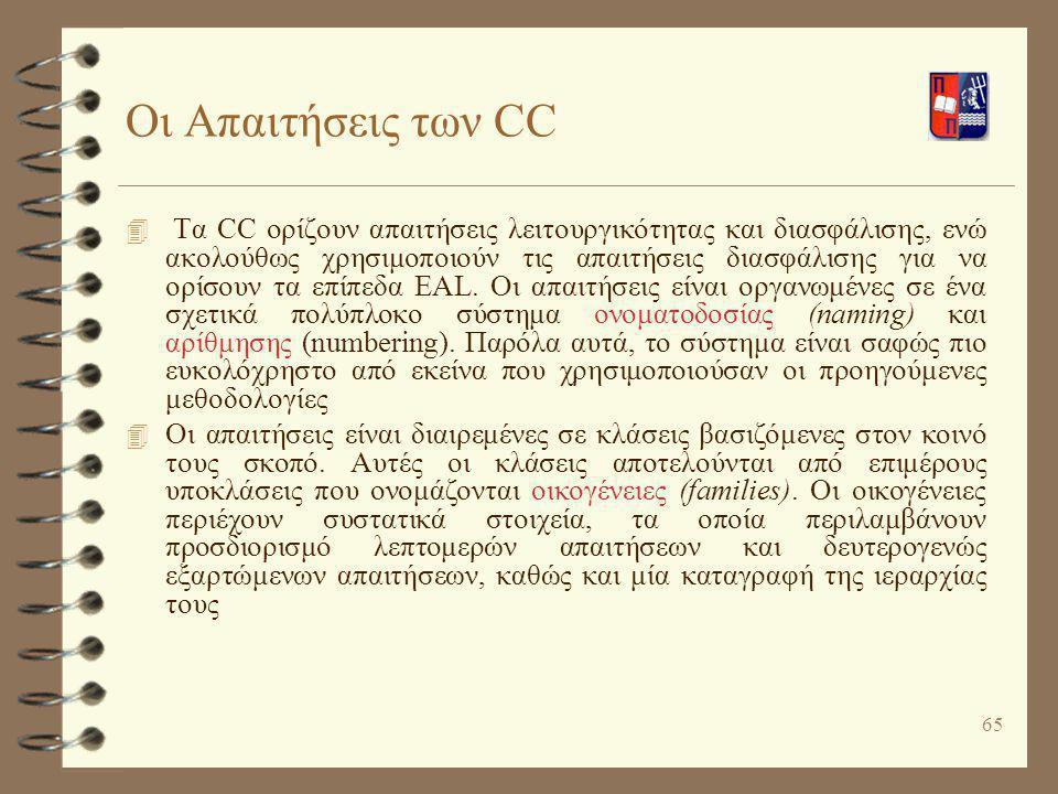 65 Οι Απαιτήσεις των CC 4 Τα CC ορίζουν απαιτήσεις λειτουργικότητας και διασφάλισης, ενώ ακολούθως χρησιμοποιούν τις απαιτήσεις διασφάλισης για να ορί