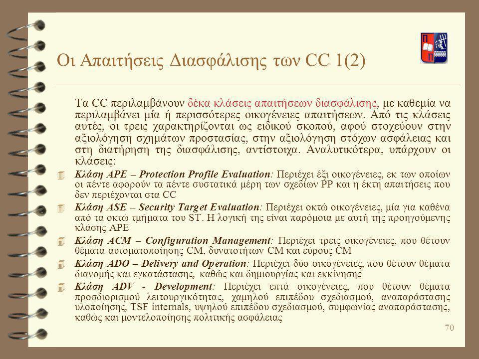 70 Οι Απαιτήσεις Διασφάλισης των CC 1(2) Τα CC περιλαμβάνουν δέκα κλάσεις απαιτήσεων διασφάλισης, με καθεμία να περιλαμβάνει μία ή περισσότερες οικογέ
