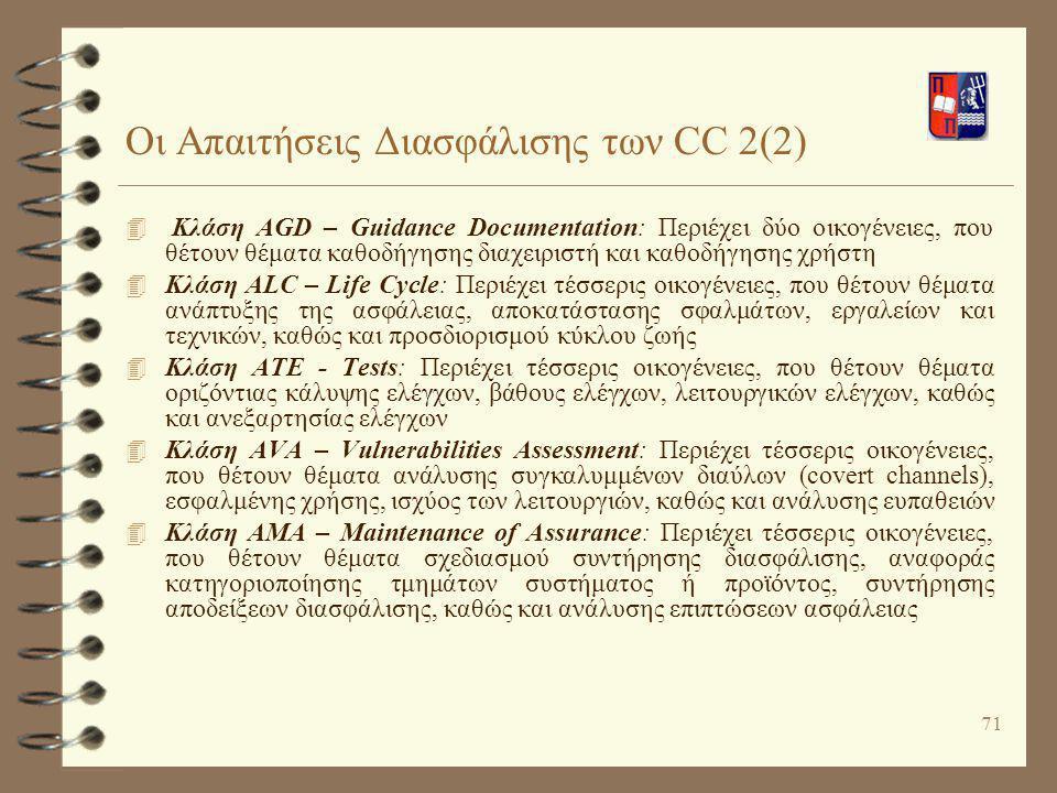 71 Οι Απαιτήσεις Διασφάλισης των CC 2(2) 4 Κλάση AGD – Guidance Documentation: Περιέχει δύο οικογένειες, που θέτουν θέματα καθοδήγησης διαχειριστή και