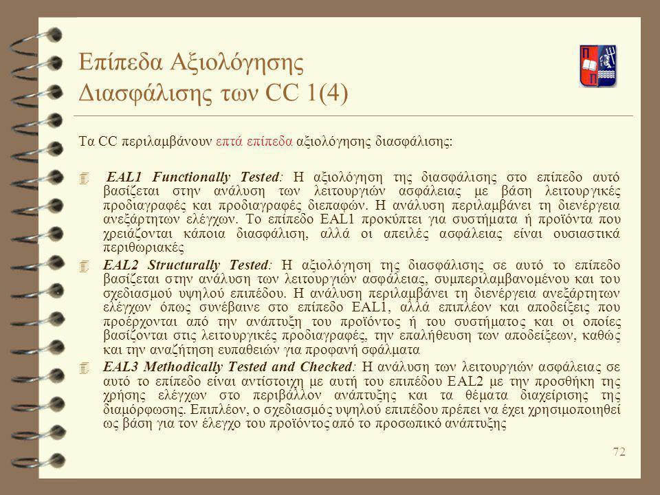 72 Επίπεδα Αξιολόγησης Διασφάλισης των CC 1(4) Τα CC περιλαμβάνουν επτά επίπεδα αξιολόγησης διασφάλισης: 4 ΕAL1 Functionally Tested: Η αξιολόγηση της