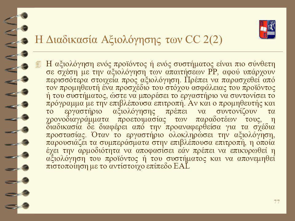 77 Η Διαδικασία Αξιολόγησης των CC 2(2) 4 Η αξιολόγηση ενός προϊόντος ή ενός συστήματος είναι πιο σύνθετη σε σχέση με την αξιολόγηση των απαιτήσεων PP