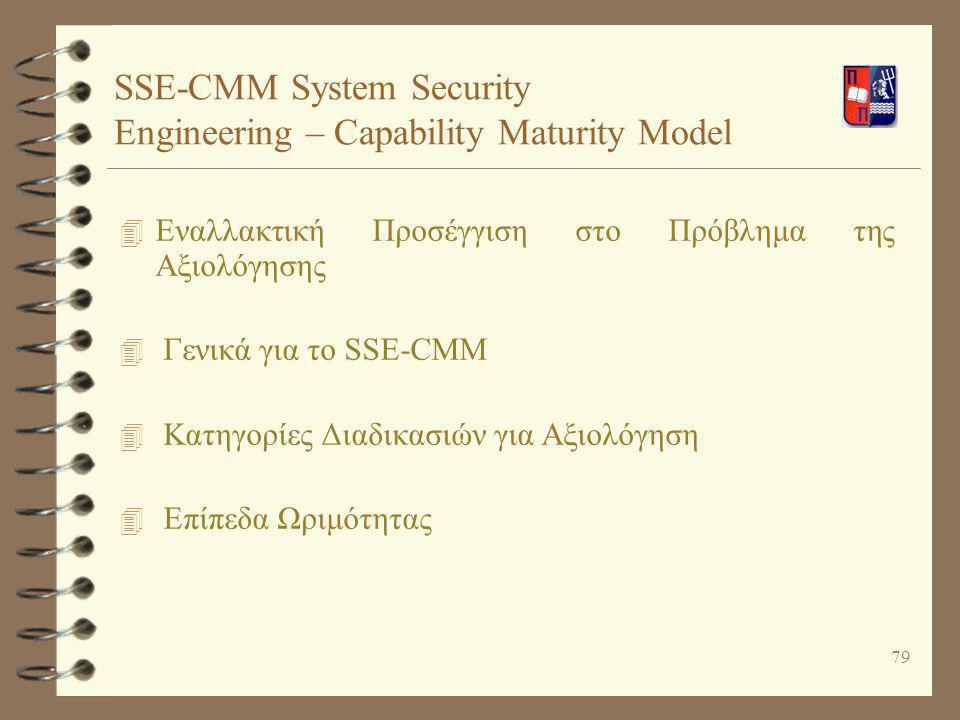 79 SSE-CMM System Security Engineering – Capability Maturity Model 4 Εναλλακτική Προσέγγιση στο Πρόβλημα της Αξιολόγησης 4 Γενικά για το SSE-CMM 4 Κατ